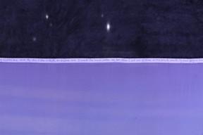 Nuit lavande, 2019. Capture of a lavender sky.  Silk, squid ink, blackberry, elderberry, methylene blue. With the help of Mathilde Chassaigne. Palais de Tokyo, Paris.  Ce projet a été sélectionné par la commission mécénat de la Fondation des Artistes qui lui a apporté son soutien.  ©Photo : Ayka Lux