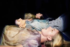 Brune, 2019. Lead, cotton, voices. Sound piece : Fanny Ansel based on Las fielairas (Occitan song) Interpretation : Fanny Ansel, Caroline Collin, Céline Peran. Costumes : Pierre Antoine Vettorello.  Palais de Tokyo, Paris.  ©Ayka Lux