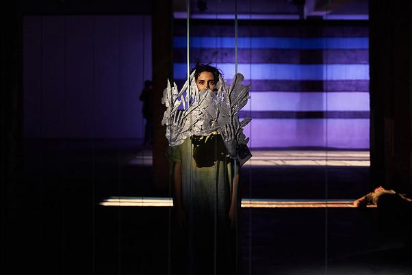 Laurier, 2019. Lead, cotton, Polyvinyl chloride, charcoal, flowers. Musical composition - Interpretation : Ana Rita Teodoro. Costumes : Pierre Antoine Vettorello.  Palais de Tokyo, Paris.  ©Ayka Lux