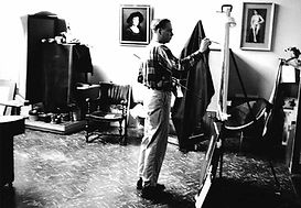 Richard Lack Painting in Studio
