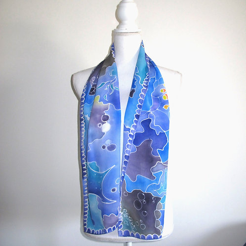 Hand painted silk scarf - FISH1