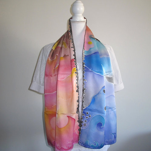 Hand painted silk scarf - EXPLORATION1
