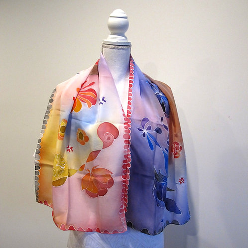 Hand painted silk scarf - FLOWERS1