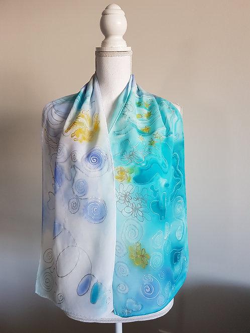 Hand painted silk scarf - OCEAN10