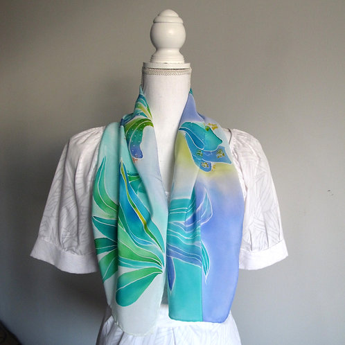 Hand painted silk scarf - PLANTS1