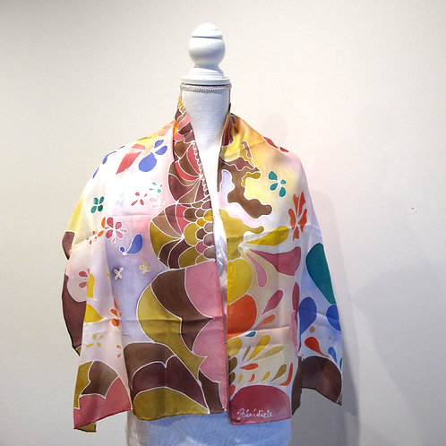 Hand painted silk scarf - EARTH1