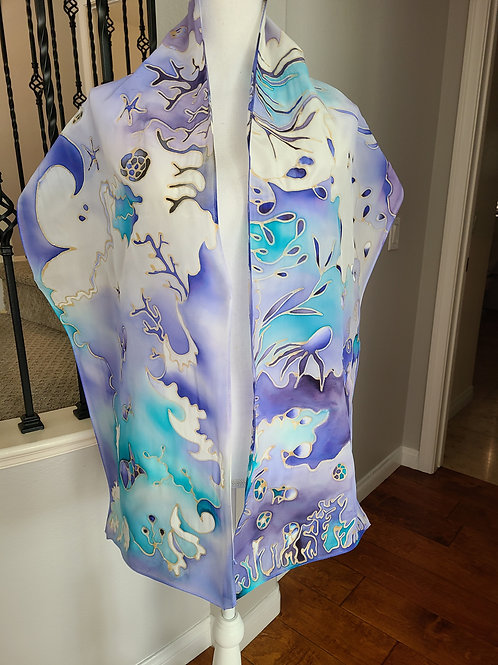 Hand painted silk scarf - Octopus