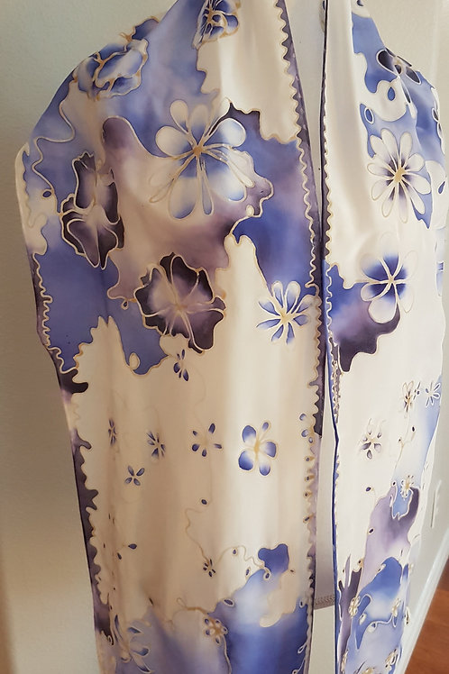 Hand painted silk scarf -Bleuet