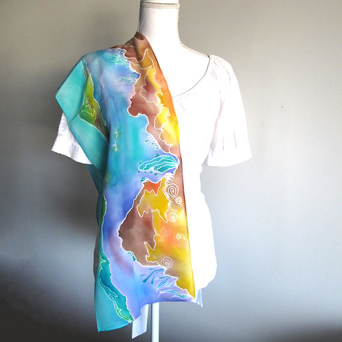 Hand painted silk scarf - SOFRANCE1