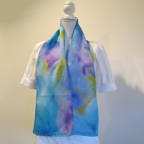 Hand painted silk scarf - OCEAN6