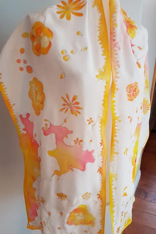 Hand painted silk scarf -Eté Indien