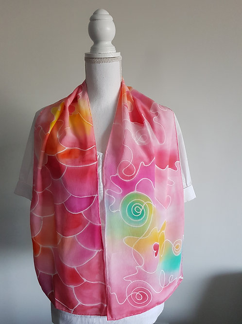 Hand painted silk scarf - REDABSTRACT1