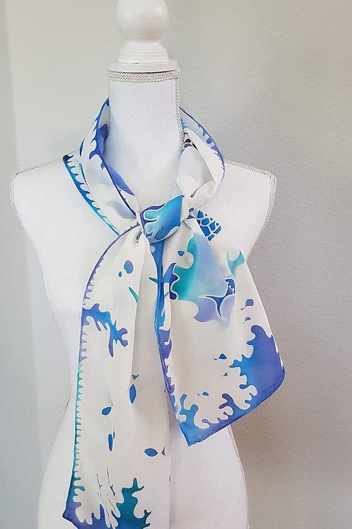 Hand painted silk scarf - La Mer