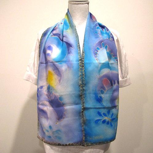 Hand painted silk scarf - OCEANWAVE3