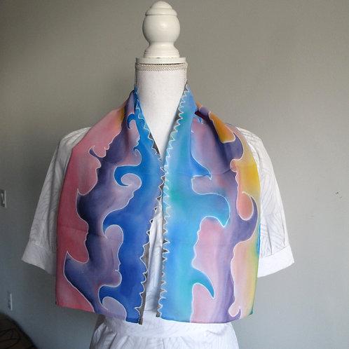 Hand painted silk scarf - OCEANWAVE2