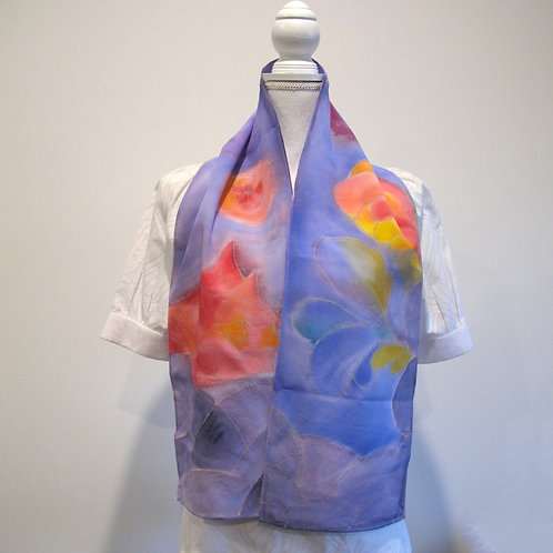Hand painted silk scarf - FLOWERS8