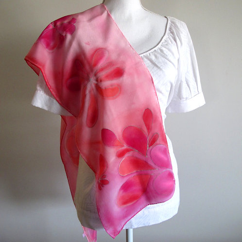 Hand painted silk scarf - FLOWERS5