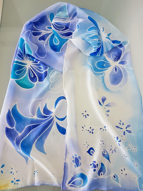 Hand painted silk scarf -FLOWERS10