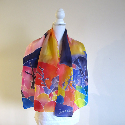 Hand painted silk scarf - JAPANWAVE1