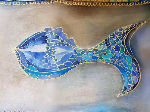 Hand painted silk scarf - FISH2