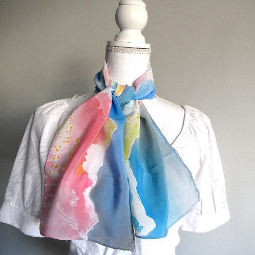 Hand painted silk scarf -SWISSALPS1
