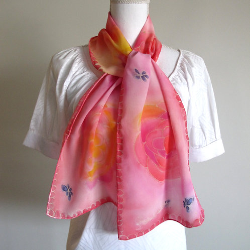Hand painted silk scarf - FLOWERS3