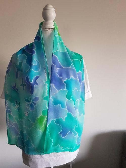 Hand painted silk scarf - OCEAN9
