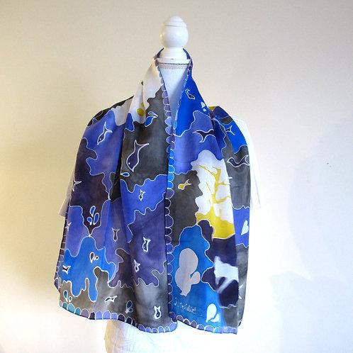 Hand painted silk scarf - OCEAN1