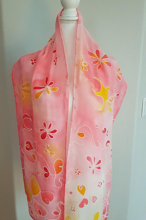 Hand painted silk scarf - Summer vibes 1