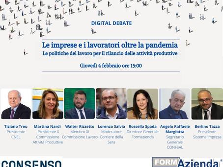 DIGITAL DEBATE CON IL PRESIDENTE CNEL TIZIANO TREU - GIOVEDI' 4 FEBBRAIO ALLE 15