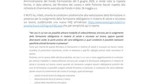 Formazione obbligatoria, aggiornamento FAQ da parte del MLPS