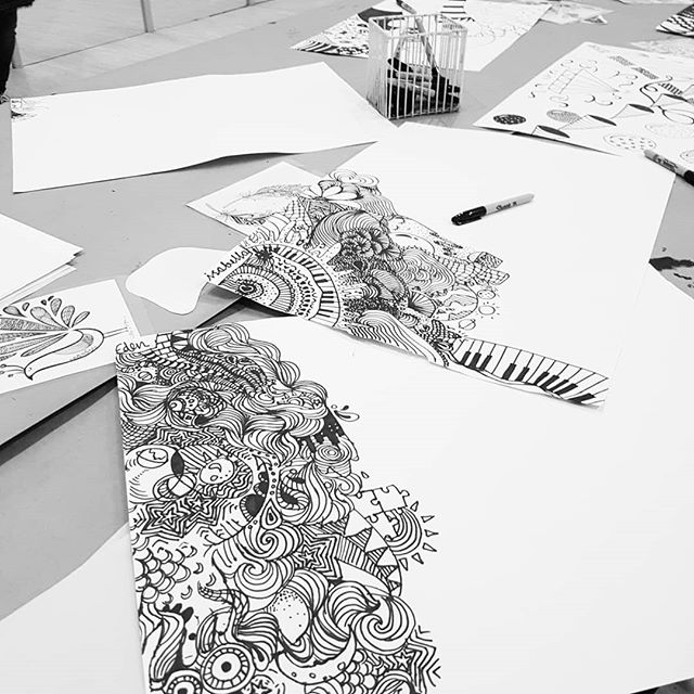 Zentangle fun... next week these will all be ripped up for their collages