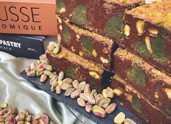 PISTACHIO & BELGIAN CHOCOLATE FUDGE BROWNIE