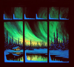 Reflections Of The North with window frame in the dark