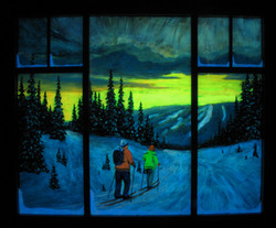 Cross Country Paradise with window frame in the dark