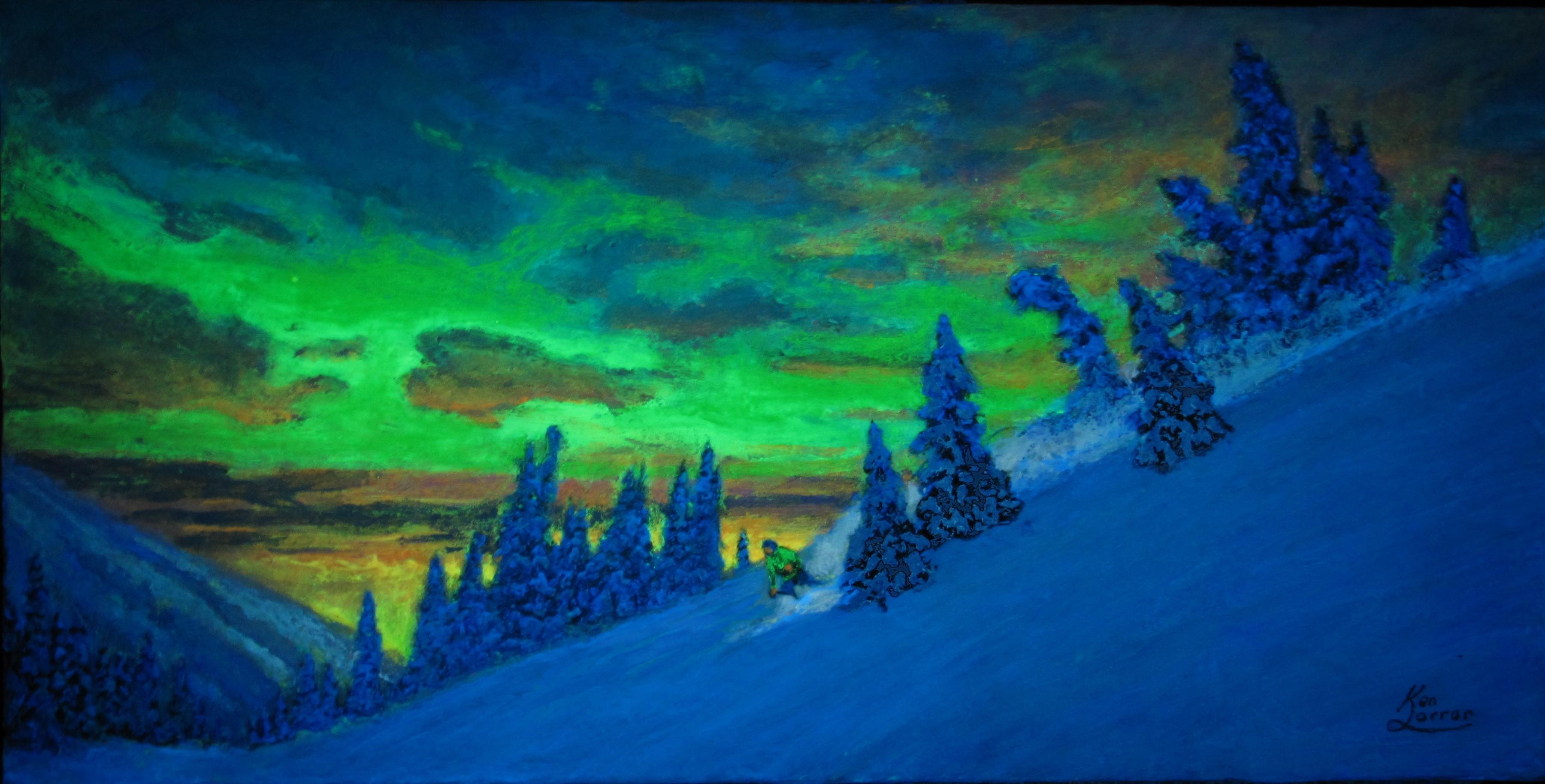 Aurora Visits Sun Peaks ( in the dark ).