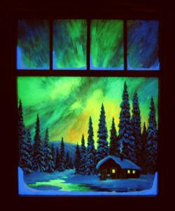 A Spectacular Night window Framed in the dark