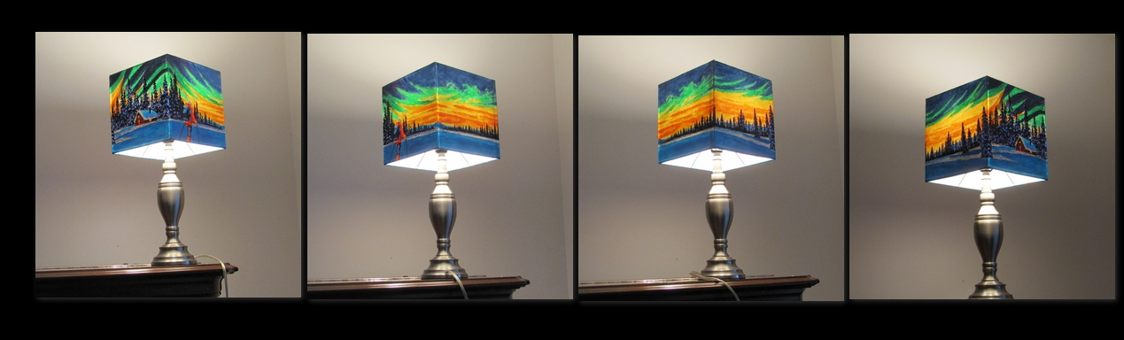 Lamp shade with light on  SOLD