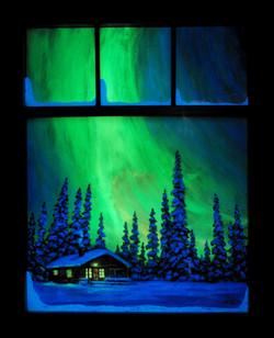 Night Light with window frame in the dark