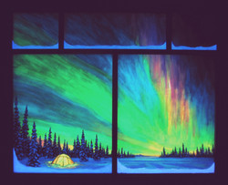 A Magical Sight with window frame in the dark