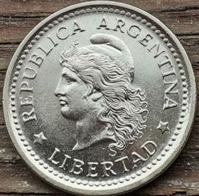 1 Песо, 1962 года, Аргентина, Монета, Монеты, 1 Peso 1962, Republica Argentina,Flora, Флора,Рослинний орнамент,Растительный орнамент,Floral ornamentна монете, Дівчина,Girl, Девушка на монете.