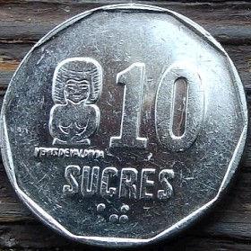 10 Сукре, 1991 года, Эквадор, Монета, Монеты, 10Sucres1991, Republica del Ecuador, Statuette of Valdivia culture, Статуэтка культуры Вальдивии на монете, Coat of arms of Ecuador, Герб Эквадора на монете.