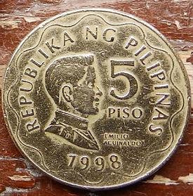 5 Песо, 1998 года, Филиппины,Монета, Монеты, 5 Piso 1998,Republika ng Pilipinas, Emilio Aguinaldo,Эмилио Агинальдона монете,Emblem, Эмблемана монете.