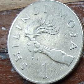 1 Шиллинг, 1966 года, Танзания,Монета, Монеты, 1 Shilling1966, Tanzania,Смолоскип в руці, Torch in hand, Факел в руке на монете, Julius Nyerere,Джулиус Ньерере на монете.