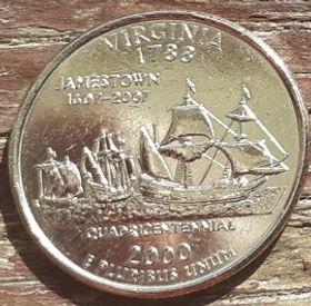 1/4 Доллара, 2000 года,Соединенные Штаты Америки, Монета, Монеты, Quarter Dollar2000,The United States of America,Virginia, Вирджиния, Човен, Корабель, Boat, Ship,Лодка, Корабльна монете, President George Washington, Президент Джордж Вашингтонна монете.