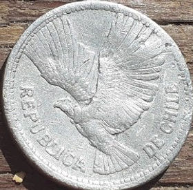 10 Песо,1956 года, Чили, Монета, Монеты, 10 Diez Pesos 1956, Republica deChile, Flora,Spikelets, Флора,Колоскина монете, Фауна, Птах,Андійський кондор,Fauna, Bird, Andean condor,Фауна, Птица, Андский кондор на монете.