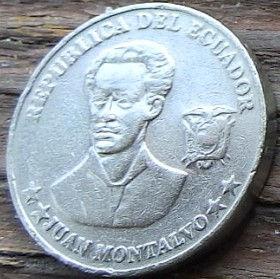 5 Сентаво,2000 года, Эквадор, Монета, Монеты, 5 Cinco Centavos2000, Republica del Ecuador,Juan Maria Montalvo,Хуан Мария Монтальво на монете.
