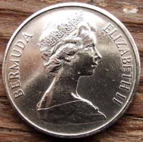 25 Центов, 1970 года, Бермудские Острова, Монета, Монеты, 25 Twenty-Five Cents 1970, Bermuda,Fauna, Bird,Phaethon lepturus,Фауна, Птица,Белохвостый фаэтонна монете,Королева Elizabeth II, Елизавета IIна монете, Второй портрет королевы.