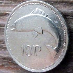 10 Пенсов,1994 года, Ирландия, Монета, Монеты,Ireland, 10 P,Pence 1994, Eire, Риба, Fish, Рыбана монете,Harp,Арфа на монете.