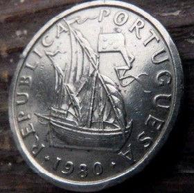 5 Эскудо, 1980 года, Португалия, Монета, Монеты, 5 Escudo 1980, Republica Portuguesa,Portugal, Coat of Arms,Гербна монете, Ship,Корабль на монете.